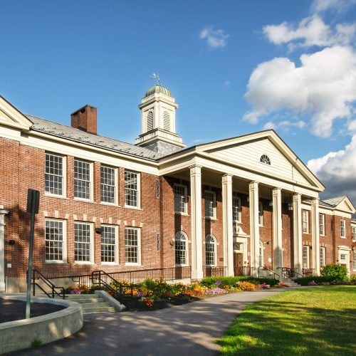 Classic American school entrance and exterior